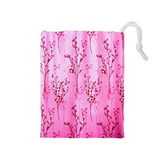 Pink Curtains Background Drawstring Pouches (medium)