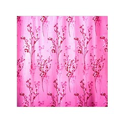 Pink Curtains Background Small Satin Scarf (square) by Nexatart
