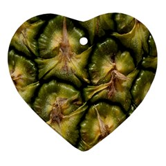 Pineapple Fruit Close Up Macro Heart Ornament (two Sides) by Nexatart