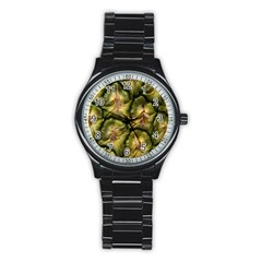 Pineapple Fruit Close Up Macro Stainless Steel Round Watch