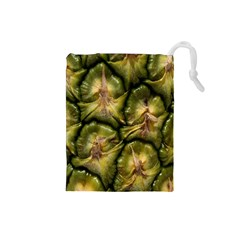 Pineapple Fruit Close Up Macro Drawstring Pouches (small)
