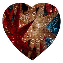 Poinsettia Red Blue White Jigsaw Puzzle (heart) by Nexatart