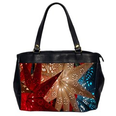 Poinsettia Red Blue White Office Handbags (2 Sides)