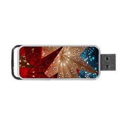 Poinsettia Red Blue White Portable Usb Flash (one Side)