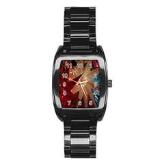 Poinsettia Red Blue White Stainless Steel Barrel Watch