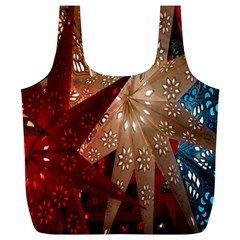 Poinsettia Red Blue White Full Print Recycle Bags (l)