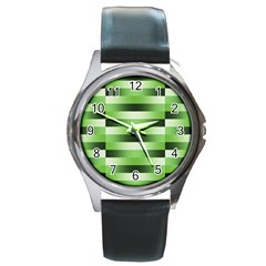 Pinstripes Green Shapes Shades Round Metal Watch by Nexatart
