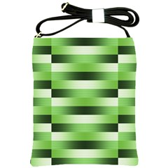 Pinstripes Green Shapes Shades Shoulder Sling Bags