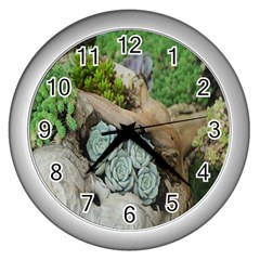 Plant Succulent Plants Flower Wood Wall Clocks (silver)  by Nexatart