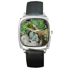 Plant Succulent Plants Flower Wood Square Metal Watch by Nexatart