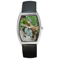Plant Succulent Plants Flower Wood Barrel Style Metal Watch by Nexatart