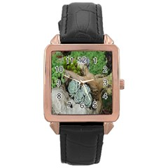 Plant Succulent Plants Flower Wood Rose Gold Leather Watch  by Nexatart