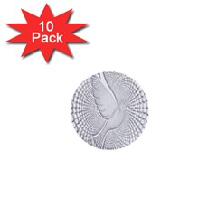 Points Circle Dove Harmony Pattern 1  Mini Buttons (10 Pack)  by Nexatart