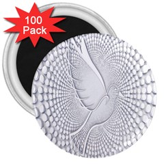 Points Circle Dove Harmony Pattern 3  Magnets (100 Pack) by Nexatart