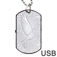 Points Circle Dove Harmony Pattern Dog Tag Usb Flash (two Sides) by Nexatart