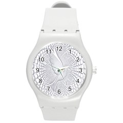Points Circle Dove Harmony Pattern Round Plastic Sport Watch (m) by Nexatart