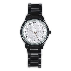 Points Circle Dove Harmony Pattern Stainless Steel Round Watch