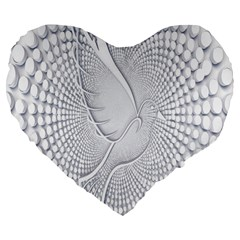 Points Circle Dove Harmony Pattern Large 19  Premium Flano Heart Shape Cushions