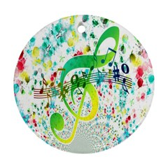 Points Circle Music Pattern Ornament (round) by Nexatart