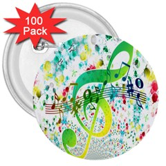 Points Circle Music Pattern 3  Buttons (100 Pack)  by Nexatart