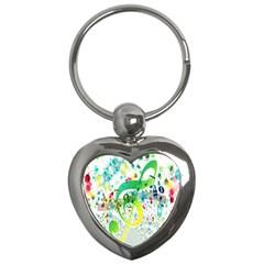 Points Circle Music Pattern Key Chains (heart)  by Nexatart