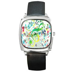 Points Circle Music Pattern Square Metal Watch