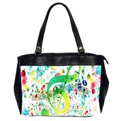 Points Circle Music Pattern Office Handbags (2 Sides)  by Nexatart