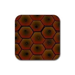 Psychedelic Pattern Rubber Square Coaster (4 Pack)  by Nexatart