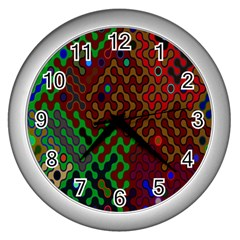 Psychedelic Abstract Swirl Wall Clocks (silver)  by Nexatart