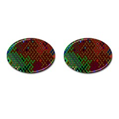 Psychedelic Abstract Swirl Cufflinks (oval) by Nexatart