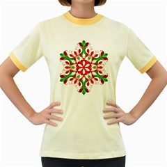 Red And Green Snowflake Women s Fitted Ringer T Shirts
