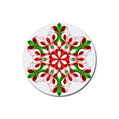 Red And Green Snowflake Rubber Coaster (round)