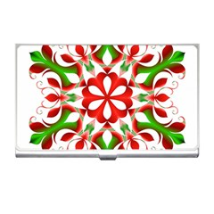 Red And Green Snowflake Business Card Holders by Nexatart