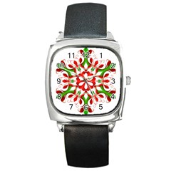 Red And Green Snowflake Square Metal Watch