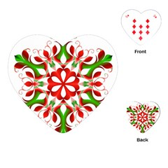 Red And Green Snowflake Playing Cards (heart)