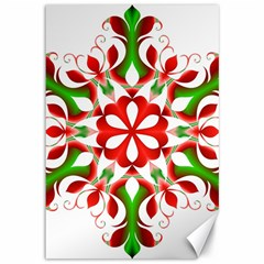 Red And Green Snowflake Canvas 12  X 18