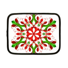Red And Green Snowflake Netbook Case (small)  by Nexatart