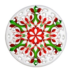 Red And Green Snowflake Ornament (round Filigree) by Nexatart