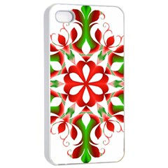Red And Green Snowflake Apple Iphone 4/4s Seamless Case (white)