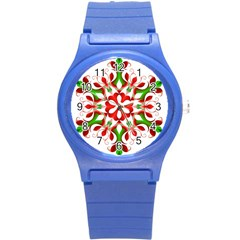Red And Green Snowflake Round Plastic Sport Watch (s)