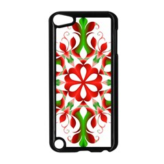 Red And Green Snowflake Apple Ipod Touch 5 Case (black) by Nexatart
