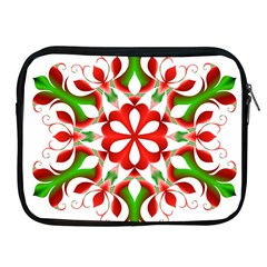 Red And Green Snowflake Apple Ipad 2/3/4 Zipper Cases by Nexatart