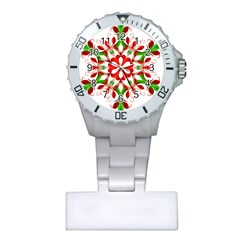 Red And Green Snowflake Plastic Nurses Watch