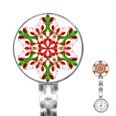 Red And Green Snowflake Stainless Steel Nurses Watch