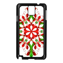 Red And Green Snowflake Samsung Galaxy Note 3 N9005 Case (black)