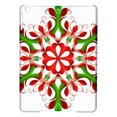 Red And Green Snowflake Ipad Air Hardshell Cases by Nexatart