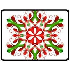 Red And Green Snowflake Double Sided Fleece Blanket (large)