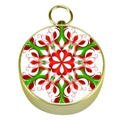 Red And Green Snowflake Gold Compasses