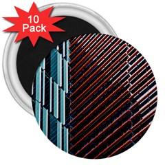 Red And Black High Rise Building 3  Magnets (10 Pack)  by Nexatart
