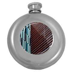 Red And Black High Rise Building Round Hip Flask (5 oz) by Nexatart